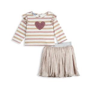 Pippa & Julie Baby Girl's Heart Top Skirt Set 18M